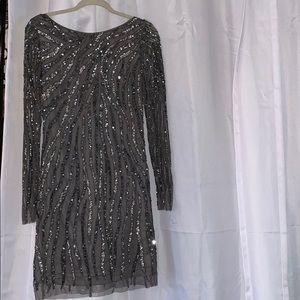 Aidan Mattox long sleeve sequin studs dress 8